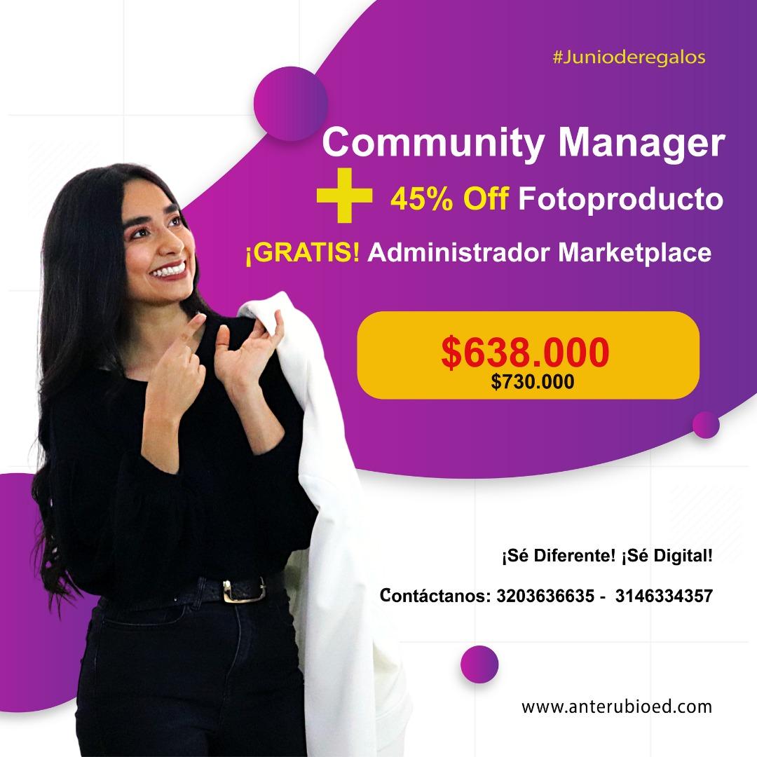 Community Manager y 40% en fotoproducto